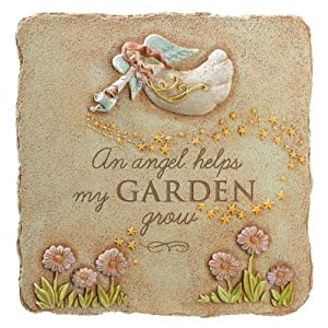 Grasslands Road An Angel Helps My Garden Square Stepping Stone, 10-Inch