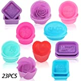 YGEOMER 23pcs Soap Mold, Square Round Oval Silicone Mold for DIY Handmade Soap (Color: Multicolor)
