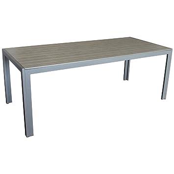 eleganter gartentisch f r bis zu 8 personen aluminium polywood non wood tischplatte 205x90cm. Black Bedroom Furniture Sets. Home Design Ideas