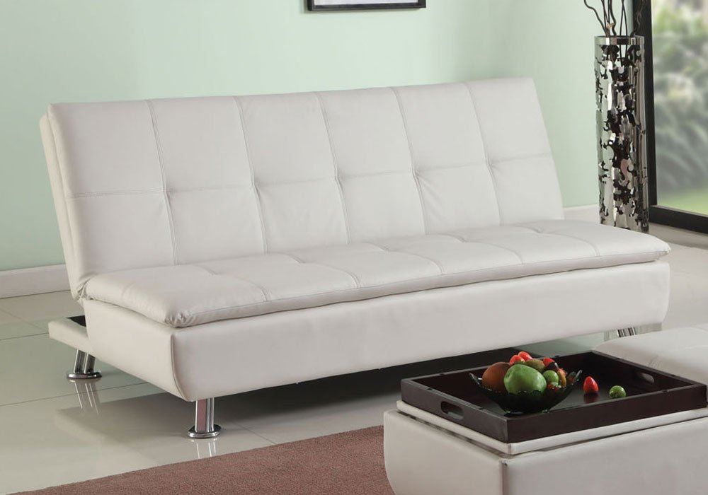 1PerfectChoice Derrick Living Fold Adjustable Sofa Bed Sleeper Futon Lounge White PU Leather