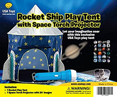 Rocket Ship Play Tent - Spaceship Playhouse with Bonus Space Torch Projector Toy from USA Toyz