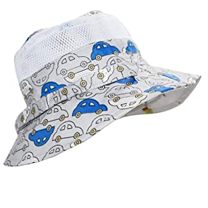 Baby Sun Hat Girls -Toddler Summer UPF 50+ Protection Wide Strap Bucket Adjustable Kids Beach Swim Hat 18.8(48cm)(6-12M) (Color: Cars and Dinosaurs, Tamaño: 18.8(48cm)(6-12M))