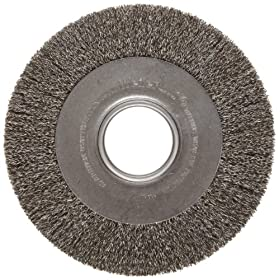 Weiler Trulock Medium Face Wire Wheel Brush, Round Hole, Steel, Crimped Wire