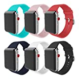 MITERV For Apple Watch Band 38mm 42mm Soft Silicone Replacement iWatch Bands for Apple Watch Series 3 Series 2 Series 1 (New 6 colors, Case size: 42mm) (Color: New 6 Colors 42mm, Tamaño: Case size: 42mm)