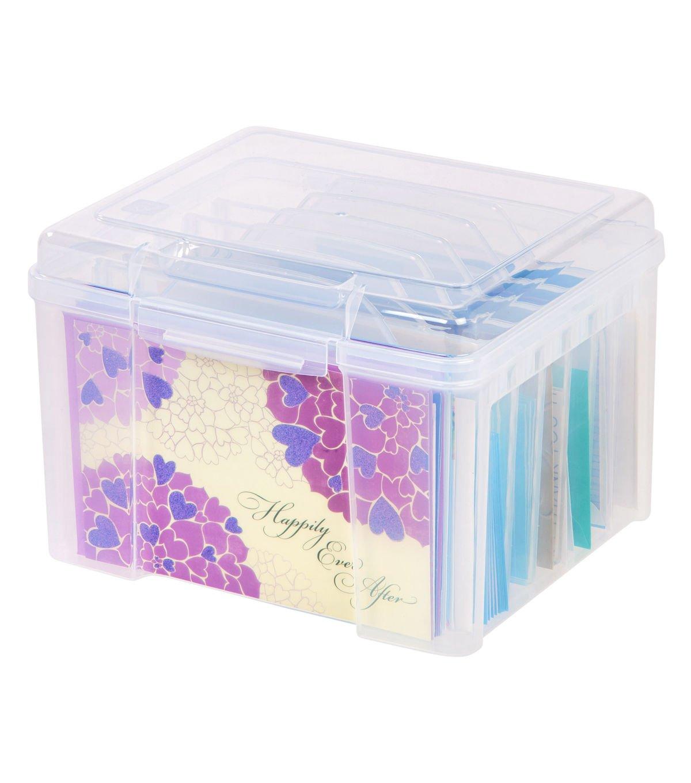 IRIS Greeting Card Craft Keeper Storage Box W/ Dividers 10