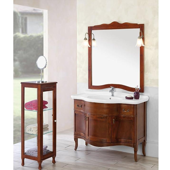 Composizione bagno in legno massello arte povera con illuminazione 129001-B
