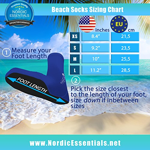 Beach Socks [2 Pairs] Wear in Sand Playing Volleyball & Soccer or as Booties for Snorkeling, Diving & Watersports - by Nordic Essentials™ - 1 Year W