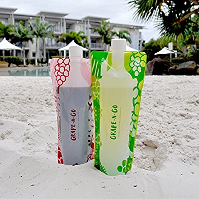 GRAPE-N-GO Flexible and Foldable Wine Bottles - Twin Pack! - The Flex, Fold & Roll Plastic Wine Bag Flask for Red and White Wine - Best Travel Accessory for Vino Lover on the Go. 2 Bottle Gift Set.
