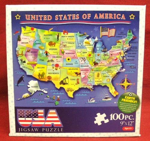 "USA Jigsaw Puzzle: 100 piece Child's Puzzle (9"" by 12"" size)...."