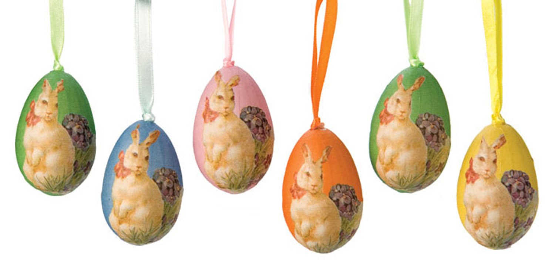 Decoupage Bunny & Violets Gift Bag Set Easter Egg Ornaments