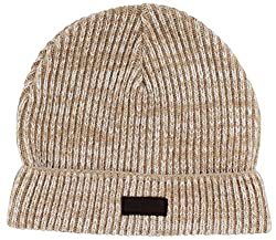 True Religion Jeans Men's 2 Tone Knit Beanie Hat Watchcap Beige