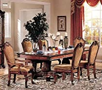 Hot Sale 7pc Formal Dining Table & Chairs Set Cherry & Brown Finish