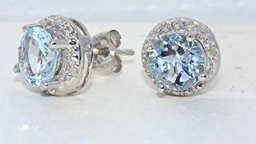 2 Ct Genuine Aquamarine Round Diamond Stud Earrings .925 Sterling Silver Rhodium Finish