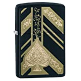 Zippo Ace of Spades Pocket Lighter (Color: Black Matte & Gold Spade, Tamaño: One Size)