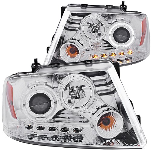 Anzo Usa 111029 Ford F-150 Projector With Halo Led Chrome Headlight Assembly - (Sold In Pairs)