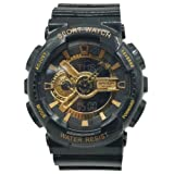Sanda Teens Sports Watch Waterproof Shock Resist Dual Time Analog Digital Light Wristwatch - Black/Gold (Color: Black/Gold)