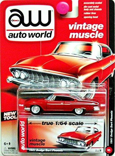 Auto World 1:64 Vintage Muscle 1961 Dodge Dart Phoenix Red No. 5