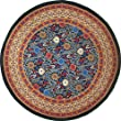 """India Arts French Floral Tablecloth ~ 72"""" Round ~ 100% Cotton (Sunflower Natural)"""