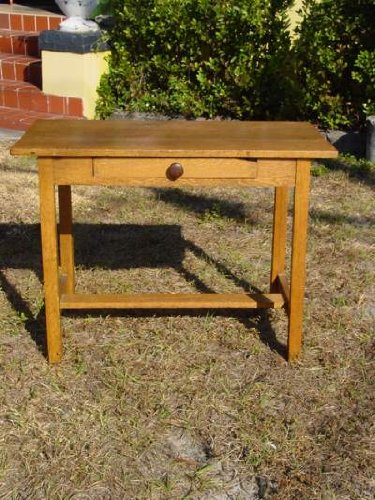 Arts & Crafts Style Solid Oak Library Table/Desk