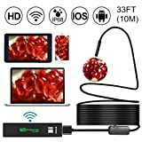 [Upgraded Version] WiFi Endoscope, Shopline 1200P HD Wireless Inspection Endoscope with 8 LEDs 2.0 Megapixels Waterproof Snake Camera for Android, iPhone, Tablet, iPad and more (10m / 33FT) (Tamaño: 10m / 33FT)