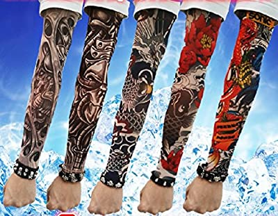 Efivs Arts D Series Skull Tribal Dragon Koi Design Temporary Tattoo Arm Cover up Sleeves 5 Pairs