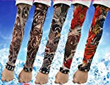 Efivs-Arts-D-Series-Skull-Tribal-Dragon-Koi-Design-Temporary-Tattoo-Arm-Cover-up-Sleeves-5-Pairs