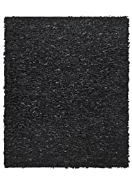 Safavieh Leather Shag Collection LSG511A Hand Woven Black Leather Round Area Rug, 4 feet in Diameter (4\' Diameter)