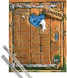Poster + Suspension : Toilettes Mini Poster (50x40 cm) Kloordnung, 14 Regeln et kit de fixation 1art1®