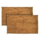 Just Linen Pair of Chenille Pom Pom Antiskid Rust Brown Floor Mats