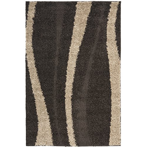 Safavieh Florida Shag Collection SG451-2813 Dark Brown and Beige Shag Area Rug, 4-Feet by 6-Feet