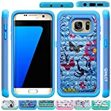 Galaxy S7 Edge Case, HLCT Rugged Shock Proof Dual-Layer Case for Samsung Galaxy S7 Edge (2016) (Blue Blue)