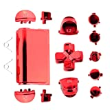 Jadebones Chrome Plating Replacement Repair Buttons with 2 Springs Set for PS4 Controller DualShock 4 (Red) (Color: Red)
