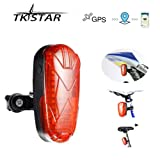 TKSTAR GPS Tracker Designed for Bicycle Small Vehicles Hidden Real-time Track Long Standby SIM Card GPS GSM GPRS Tracking Devices with LED Tail Light Lifetime Free Platform - TK906 (Color: 1800mAh)