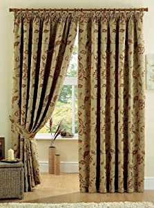 "REGENT GOLD 90"" x 108"" FLORAL FULLY LINED PENCIL PLEAT CURTAINS #YRUBYAM *CUR* by PCJ Supplies"