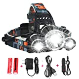 ONEPACK Rechargeable Headlamp,Super Bright LED 6000 Lumen Waterproof LED Headlamp Flashlight Kit for Cycling, Running, Camping, Hiking, Fishing, Night Reading and DIY Works