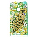 Mavis's Diary Luxury 3D Handmade Green Full Bling Crystal Rhinestone Metal Golden Peacock Design Clear Cover Case for Nokia Lumia 1520 with Soft Clean Cloth
