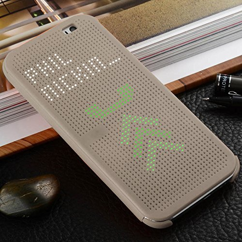 Premium Best Dot View Touch sense Bumper Touch Flip Case Cover with Sensor Flip Back Case Cover for HTC Desire 620G 620 G BY TECHNO TRENDZ - GOLD