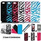 E-LV Three Pieces Interchangeable Zebra Design Hard and Soft Hybrid Armor Combo Case Skin Gel Bundle for Apple iPhone 5/5S with 2 Screen Protectors