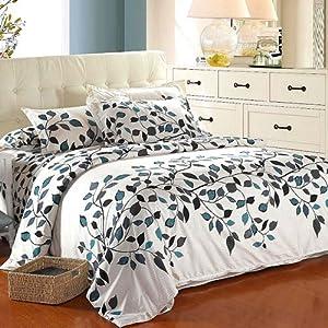 showhand 119 4pcs baum blatt floral bettw sche baumwolle. Black Bedroom Furniture Sets. Home Design Ideas