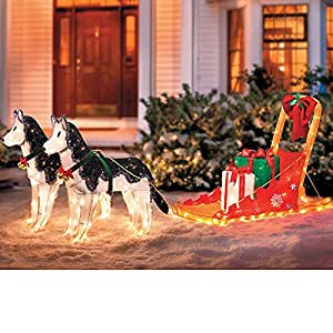 Lighted christmas sleigh with 2 huskies for Amazon christmas lawn decorations