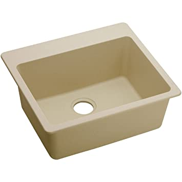 "Elkay ELG2522SD0 Granite 25"" x 22"" x 9.5"" Single Bowl Top Mount Kitchen Sink, Sand"