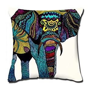 Sagittariusoo awesome colorful elephant background Pillow Cases Cushion Covers 18x18inch , 50%cotton 50%polyester materials,two-sided printed by Lavievert