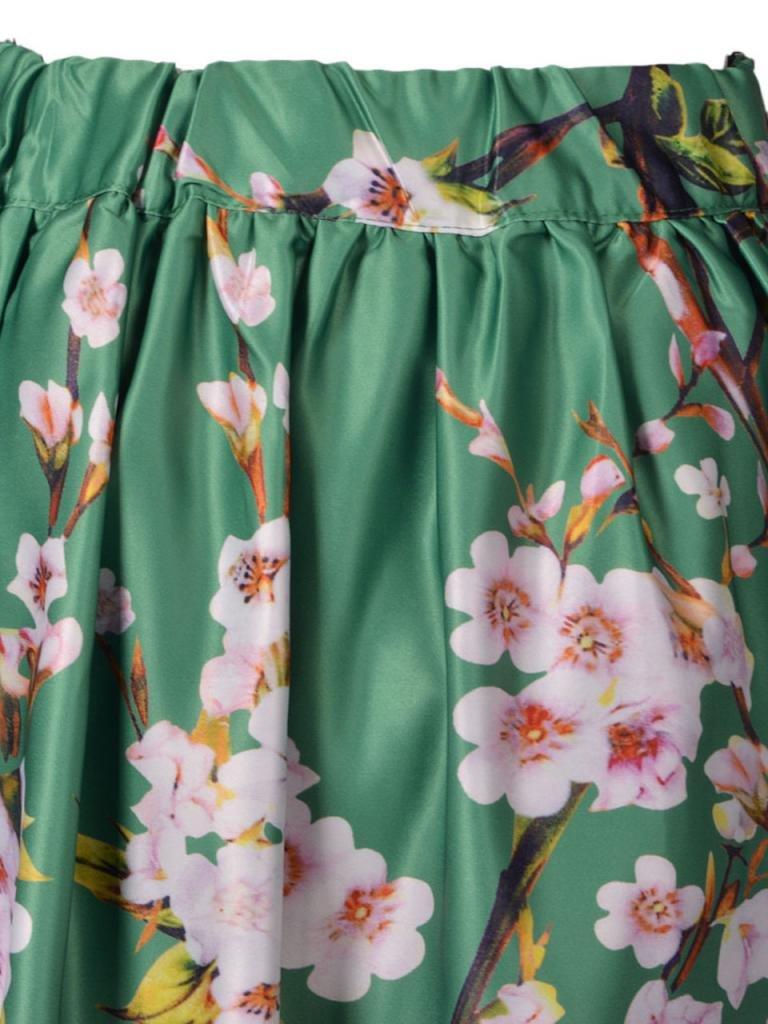 Choies Women's Black/Green/White/Blue Sakura Skater Skirt With Pleat 2
