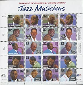 JAZZ MUSICIANS #2983-92 Pane of 20 x 32¢ US Postage Stamps