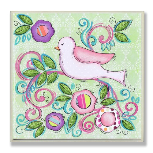 The Kids Room by Stupell Pink Bird Facing Left on a Floral Branch Square Wall Plaque