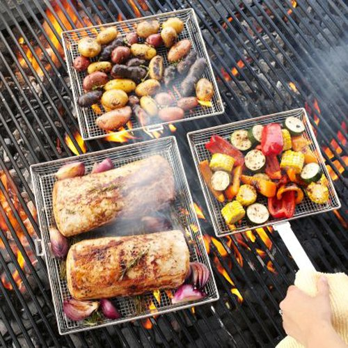 Sur La Table Mesh Grilling Baskets With Removable Handle, Set Of 3
