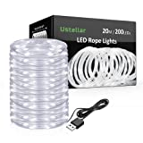 Ustellar 66ft 200 LED Rope Lights, IP65 Waterproof USB 5V String Lights, Outdoor Fairy Lighting for DIY Wedding, Party, Garden, Yard, Corridor, Christmas Decorations, Cool White (Color: Daylight White)