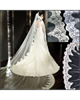 Loveshop Top-level Quality 3 Meter Long Single-layer Embroidery Lace Edge Bridal Wedding Veil