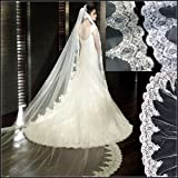Loveshop Top-level Quality 3 Meter Long Single-layer Embroidery Lace Edge Bridal Wedding Veil(White)