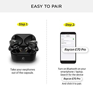 Raycon E70 Pro Best True Wireless Earbuds with Built-in Mic and Charging Case, Bluetooth Headphones for iPhone, Samsung, iPad, Android (Black) (Color: Black)